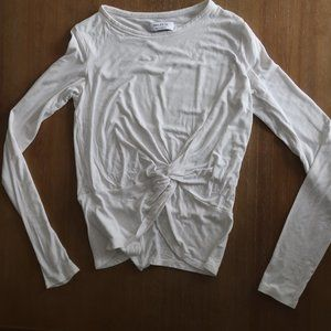 BAILEY 44 WHITE  STRETCH LONG SLEEVE TWIST FRONT